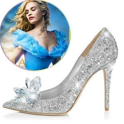 ФОТО 2017 New Rhinestone High Heels Cinderella Shoes Women Pumps Pointed toe Woman Crystal Wedding Shoes 9cm heel big size