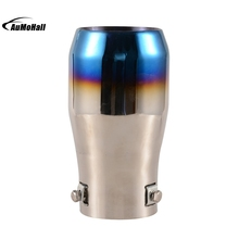 Car Stainless Steel Straight Silver Blue Chrome Round Tail Muffler Automobile Single Exhaust Pipes Tips