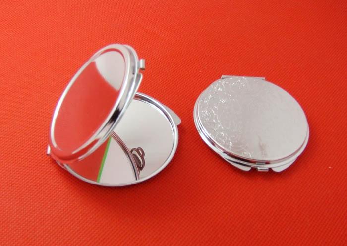 Ücretsiz kargo 10 adet Gümüş Boş Kompakt Ayna Yuvarlak Metal - Cilt Bakımı Aracı - Fotoğraf 3
