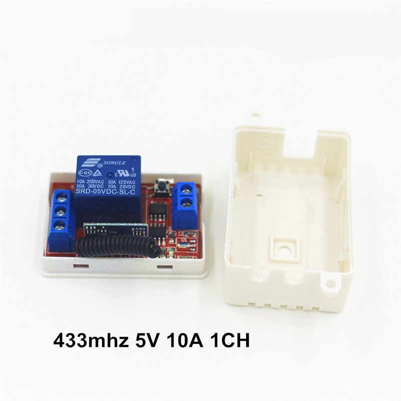 DC 5V 10A 433 Mhz Wireless Remote Control Switch 1CH relay 433Mhz Receiver Module For learning code Transmitter Remote dc12v rf wireless switch wireless remote control system1transmitter 6receiver10a 1ch toggle momentary latched learning code