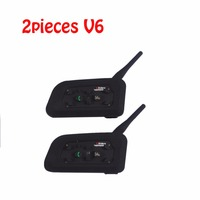 2pieces V6 Multi BT Interphone 1200M Motorcycle Bluetooth Helmet Intercom Intercomunicador Moto Interfones Headset For 6