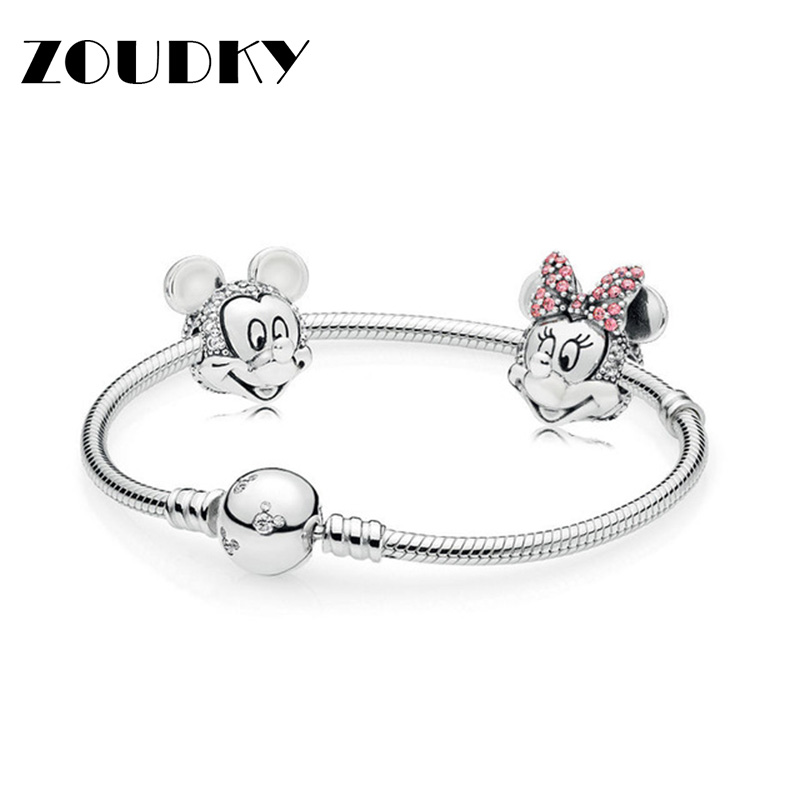 ZOUDKY New 100% 925 Sterling Silver Cartoon Fairy Tale Safety Clip Bracelet Set Suitable for Winter Womens Gift JewelryZOUDKY New 100% 925 Sterling Silver Cartoon Fairy Tale Safety Clip Bracelet Set Suitable for Winter Womens Gift Jewelry