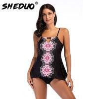 Plus Size Sey Swimwear Print Irregular Tankini Backless Bikinis Set For Women Beach Swimming Suit Straps