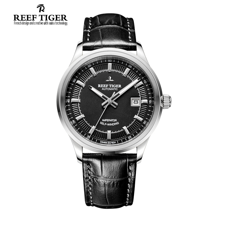 Reef Tiger/RT Watches New Designer Dress For Business Mens Automatic Genuine Leather Luminous Watches With Date Watch RGA8015 yn e3 rt ttl radio trigger speedlite transmitter as st e3 rt for canon 600ex rt new arrival