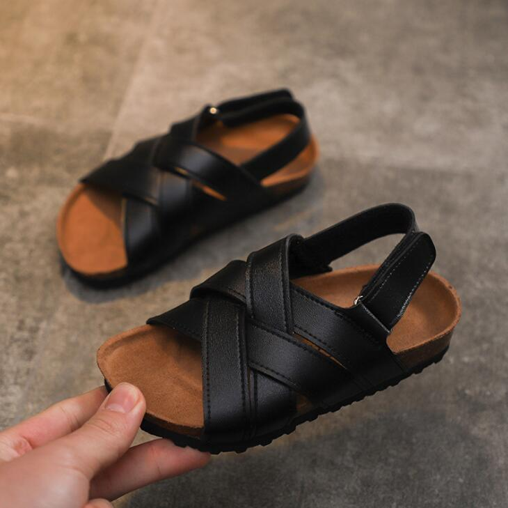 2020 Summer Kids Pu Leather Sandals Baby Girls Casual Shoes Children Beach Sandals Boys Brand Black Shoes Fashion Sport Sandals