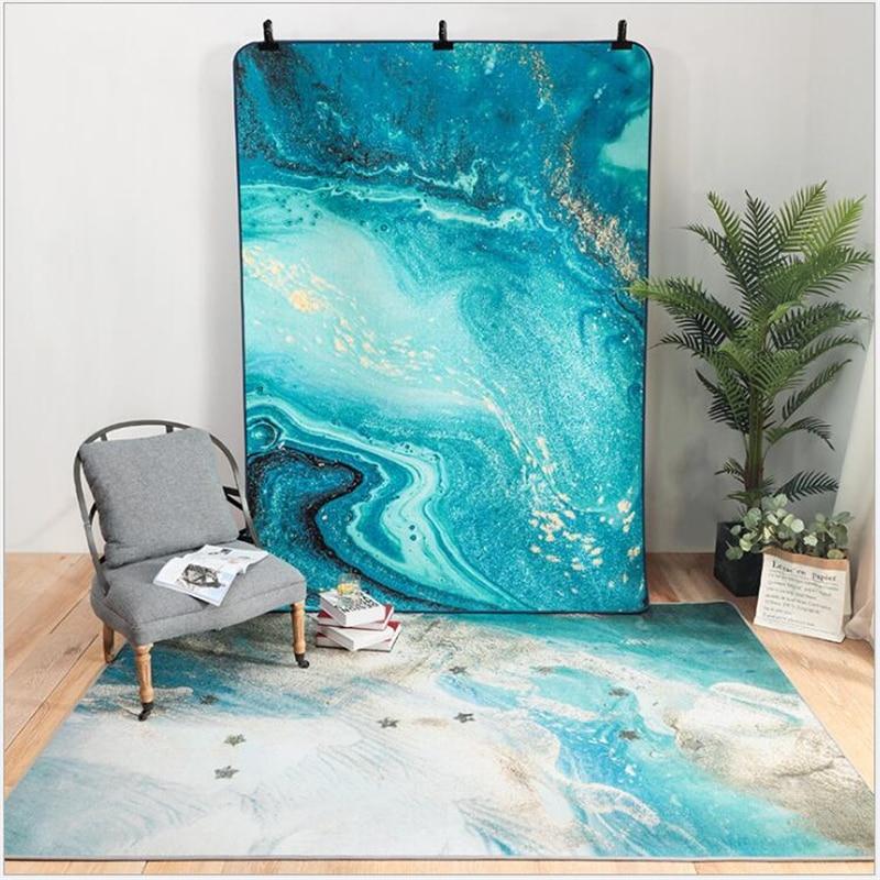 AOVOLL tapis pour la vie moderne luxe abstrait glace soie Chenille sans cheveux tapis chambre tapis grand doux tapis pour sol
