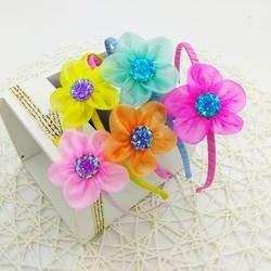 Корейский простой принцесса девочка милый солнце цветок сияющий горный хрусталь повязка для волос головные уборы для детей головной убор