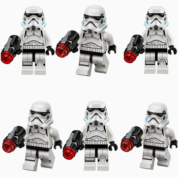 6pcs STAR WAR White Storm Clone Trooper Solider Shadow Guard SW617 Force Awakens minifig Building Blocks Kids Toy Gifts