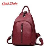 Cloth Shake New Travel Backpack Korean Women Female Rucksack Leisure Student School Bag Soft PU Leather