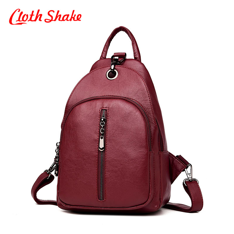 Cloth Shake New Travel Backpack Korean Women Female Rucksack Leisure Student School Bag Soft PU Leather Casual Shopping Bag 2017 new casual hot attractive elegant women ice cream drawstring beam port backpack shopping bag travel bag free shipping jan 5