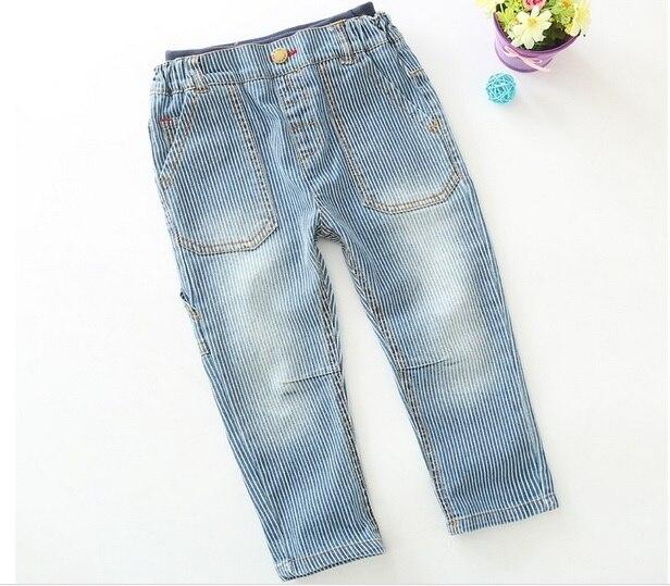 2015 осень красивые мальчики полосатый хлопчатобумажные джинсы мальчиков свободного покроя полосатый длинные брюки дети мода брюки