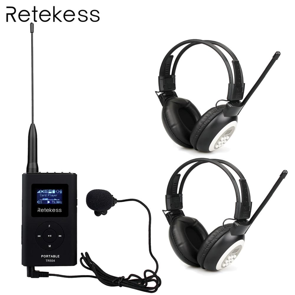 2pcs Headphone TR101 + Portable 0.6W FM Transmitter TR504 MP3 Broadcast Radio Transmitter for Meeting Church Tour Guide System