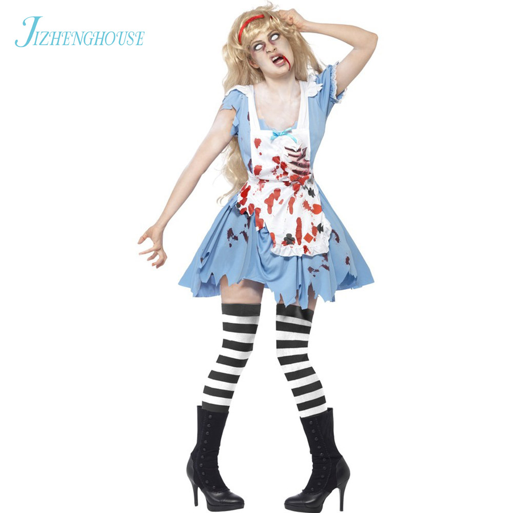 JIZHENGHOUSE Zombie Waitress Halloween Costumes Women Zombie Costumes Blue Zombie Dress