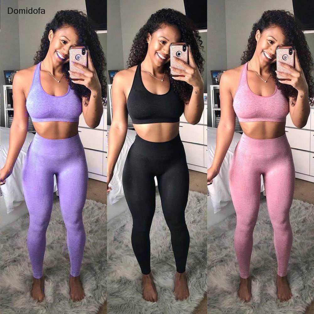 Domidofa High Waist Seamless Leggings Push Up Control Yoga Sport Women Fitness Running Pants Energy
