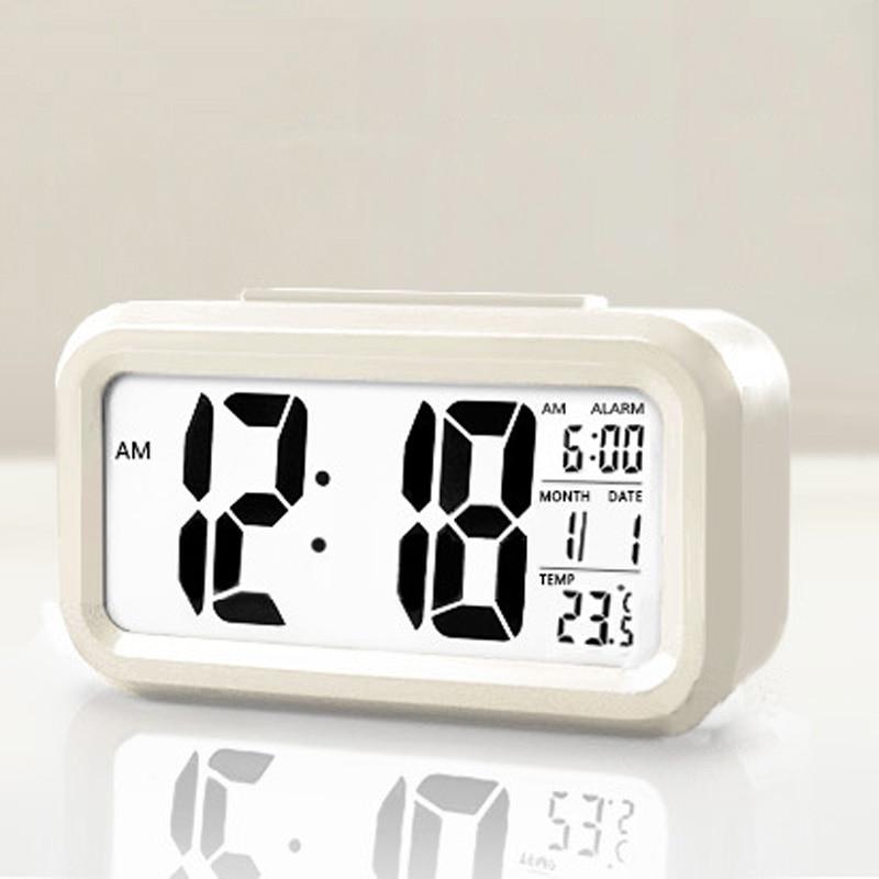 Digital LED Desk Alarm Clock Snooze Night Light Control Timer Thermometer