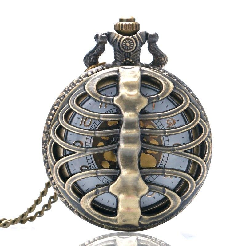 Vintage Steampunk Spine Ribs Skeleton Hollow Quartz Pocket Watch For Men Women Necklace Pendant Clock Gifts Reloj De Bolsillo