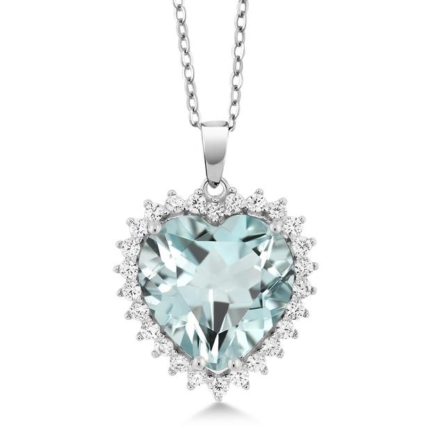 ef65b13bbd01 Aguamarina colgante de diamantes de joyería collar rojo negro 0.5 925 18  Cadena de Plata de