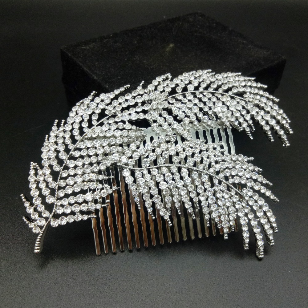 us $3.8 26% off|silver/rose gold color zinc alloy hair combs wedding hair jewelry accessories feather type bridal women crystal head decoration-in