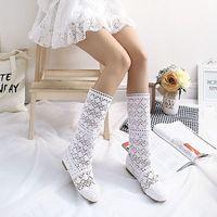 Постоянная Большие размеры 35–42 Летняя обувь из флока + кружевная обувь из сеточки Для женщин модные топы Мода Стиль Для женщин сапоги с выши...