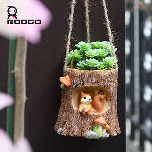 Image 3 - Roogo עץ צורת תליית עציץ מרפסת עציץ תלוי של חיות עסיסי Creative Cachepot עבור פרחים