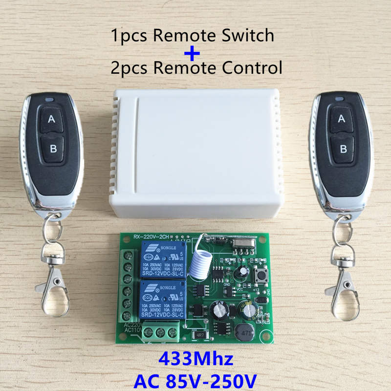 433Mhz Universal Wireless Remote Control Switch AC 250V 110V 220V 2CH Relay Receiver Module and 2pcs RF 433 Mhz Remote Controls dc24v remote control switch system1receiver