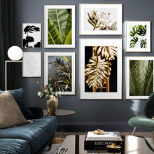Golden Green Monstera Banana Palm Leaf Wall Art Canvas Painting Nordic Posters And Prints Plants Pictures For Living Room