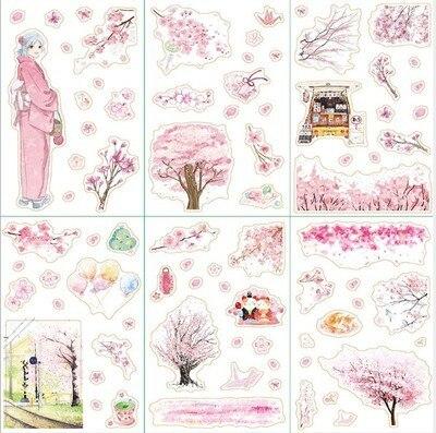 Купить с кэшбэком 6 pcs/pack Flying Cherry Sakura Snow Moon Bullet Journal Decorative Stationery Stickers Scrapbooking DIY Diary Album Stick