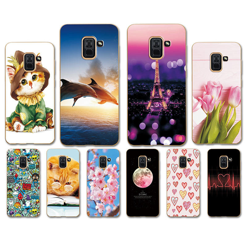 Case For Samsung Galaxy A5 A8 2018 Case Soft TPU Heart Pattern Phone Cover For Samsung A5 2018 A8 2018 <font><b>A82018</b></font> A530 Back Cover image