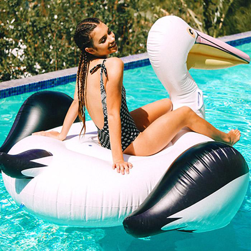 150cm Giant Inflatable Toucan Pool Float 2018 Newest Ride-On Swan Inflatable Swimming Ring Water Mattress Summer Water Party Toy