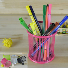 Metal Round Pen & Pencil Holder with Mesh Design Desktop Tidy Office Stationery Accessories Desk Container Pot Holder Organizer wooden pen holder with two drawer kawaii desk tidy pencil holder carton desktop pen pot creative office accessories