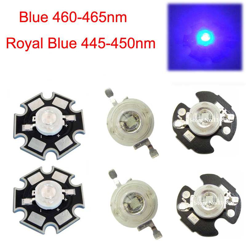 5 10 20 50 100pcs 1w 30mil 3w 45mil Royal Blue 445nm Blue <font><b>460nm</b></font> <font><b>LED</b></font> Bulb Plant Grow Light Lamp With 20mm Or 16mm Plates image