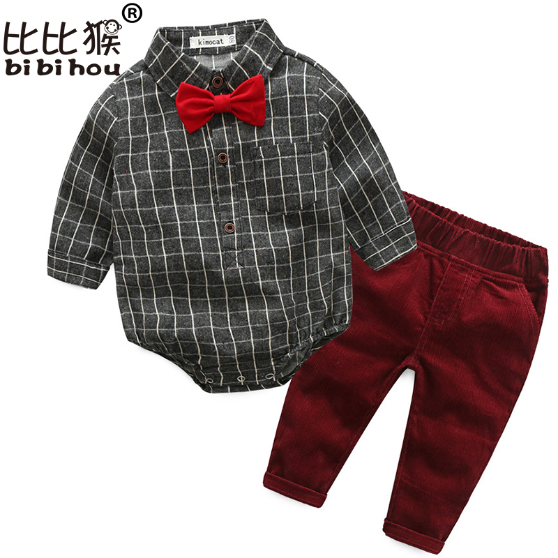 Bibihou christmas newborn boy clothes plaid shirt romper + casual pants strap 2pcs suit with bow toddler baby boys clothing set v cut solid romper with tied strap