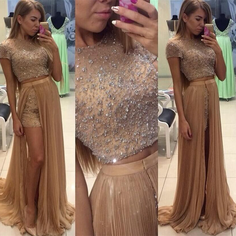 Luxury Fashion Two Piece Prom Dresses 2016 O Neck Short Sleeve Floor Length Crystal Tulle Long Evening Dress Vestido Longo