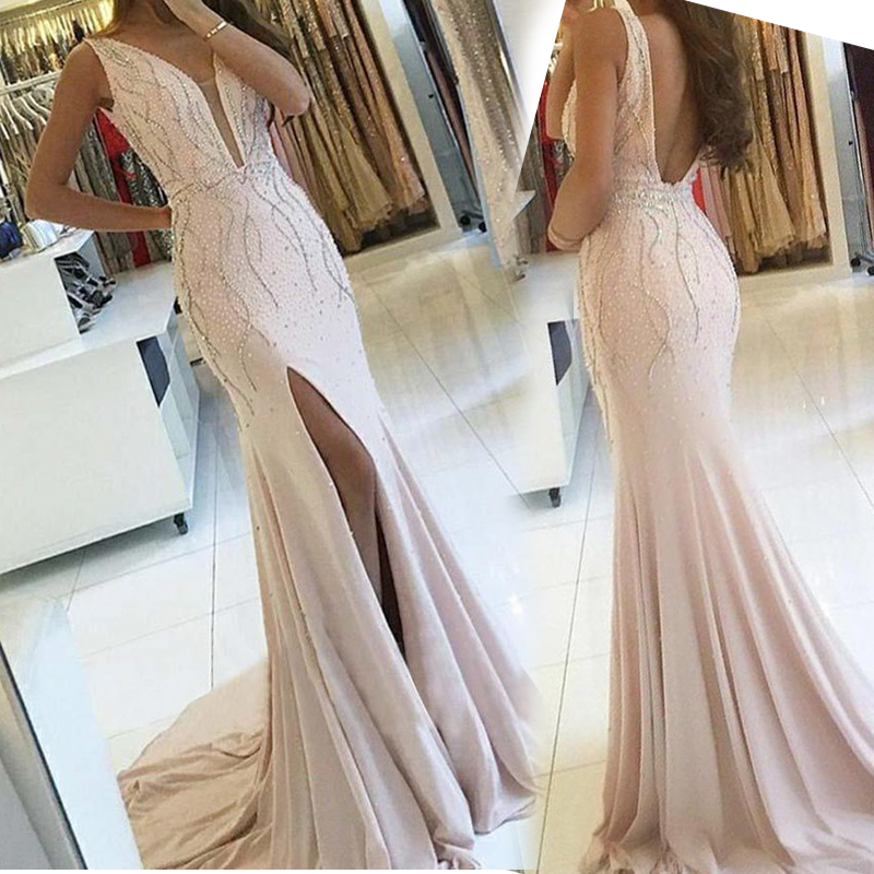 Angel married   prom     dresses   with slit 2019 backless evening   dress   beads womens pageant   dress   formal party   dress   vestido de festa