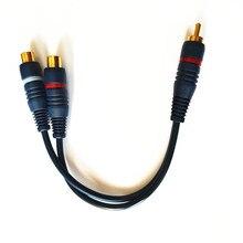 2 RCA Женский 1 RCA сплиттер папа-папа кабель аудио сплиттер дистрибьютор конвертер динамик Золотой кабель шнур линия медный провод