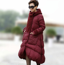 New 2016 Winter Plus Size S~4XL Women Duck Down Parka X-Long A-line Thick Jacket Female Hooded Coat Mujer Big Size High Quality