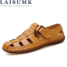 LAISUMK Summer Men Sandals 2019 Leisure Beach Men Shoes High Quality Genuine Leather Sandals The Men's Sandals Big size 39-47 все цены