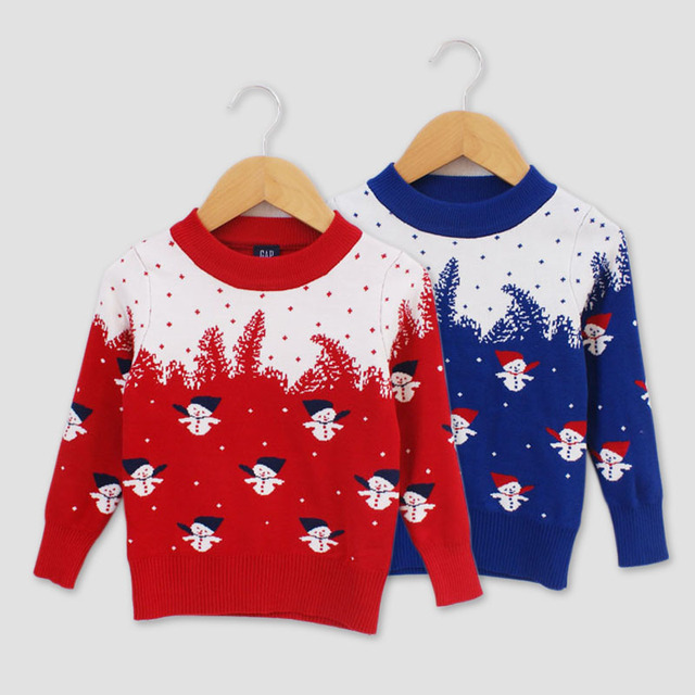 New 2016 Brand Children Sweater Christmas snowman Pattern Round Neck Baby Boys Girls Red blue Christmas Sweater