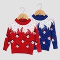 Novo 2016 Da Marca Crianças Camisola Padrão Em Torno Do Pescoço Das Meninas Dos Meninos Do Bebê do boneco de neve de Natal Vermelho azul Camisola Do Natal