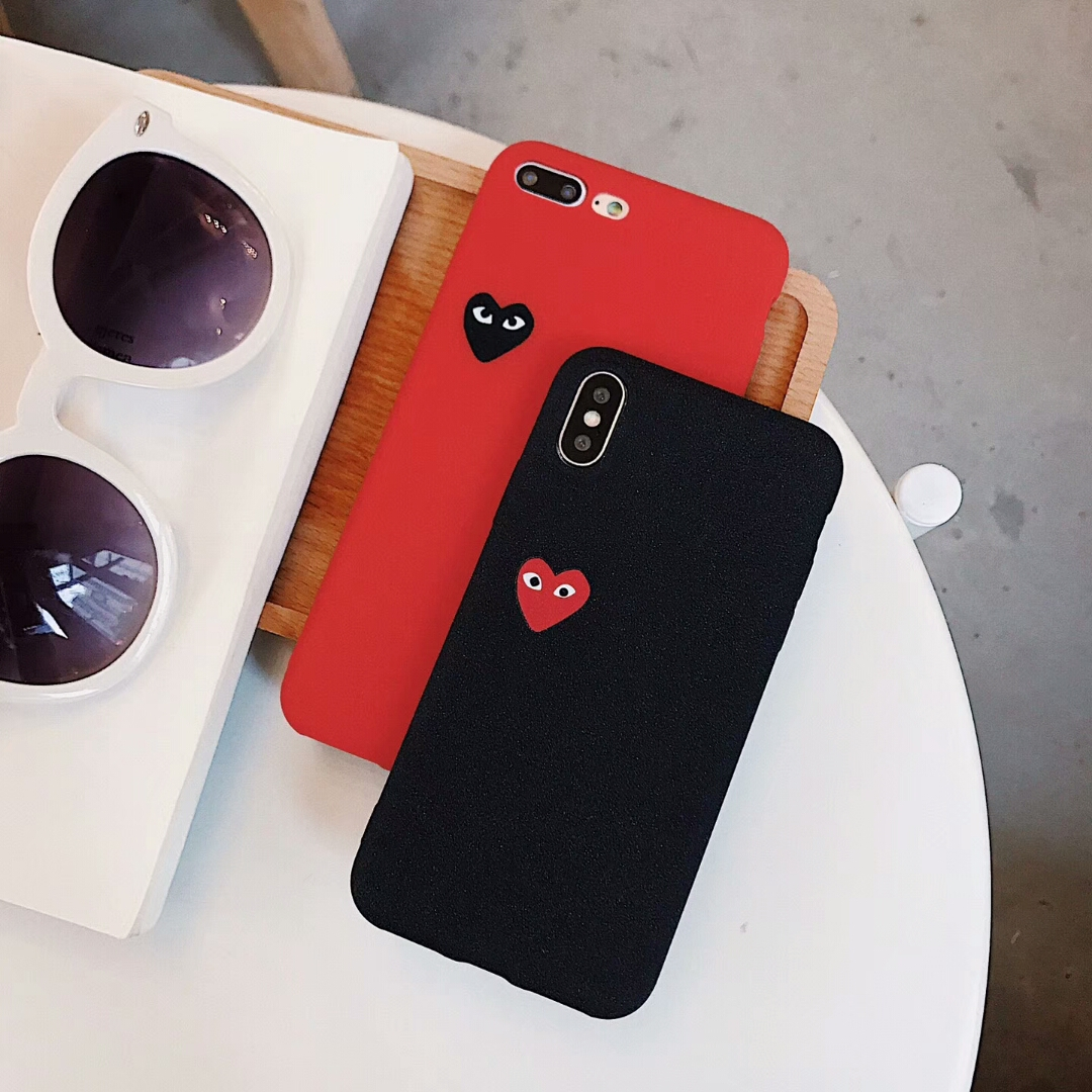 feb34ecde862 Hot Love CDG Play Comme des Garcons Soft Frosted Protect cover case for Samsung  Galaxy S6 S7 S8 S9 Plus Edge Scrub phone cases