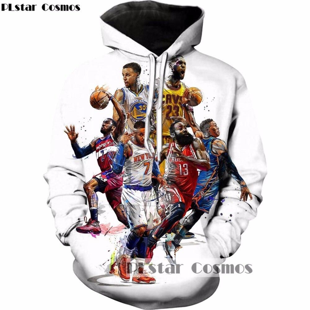 3d8c96da84876 PLstar Cosmos 2018 Yeni Moda Hoodies ünlü Stephen Curry/LeBron James/James  Harden Baskı 3d Kazak Unisex Eşofman