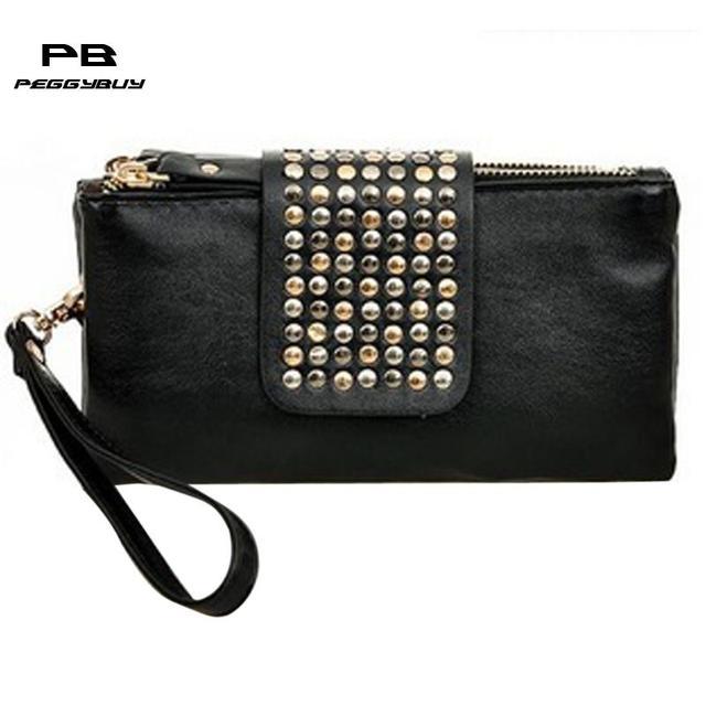 a8d866bfea Women Leather Handbag Fashion Rivet Stud Long Day Clutch Bag for Lady Black  Female Party Evening