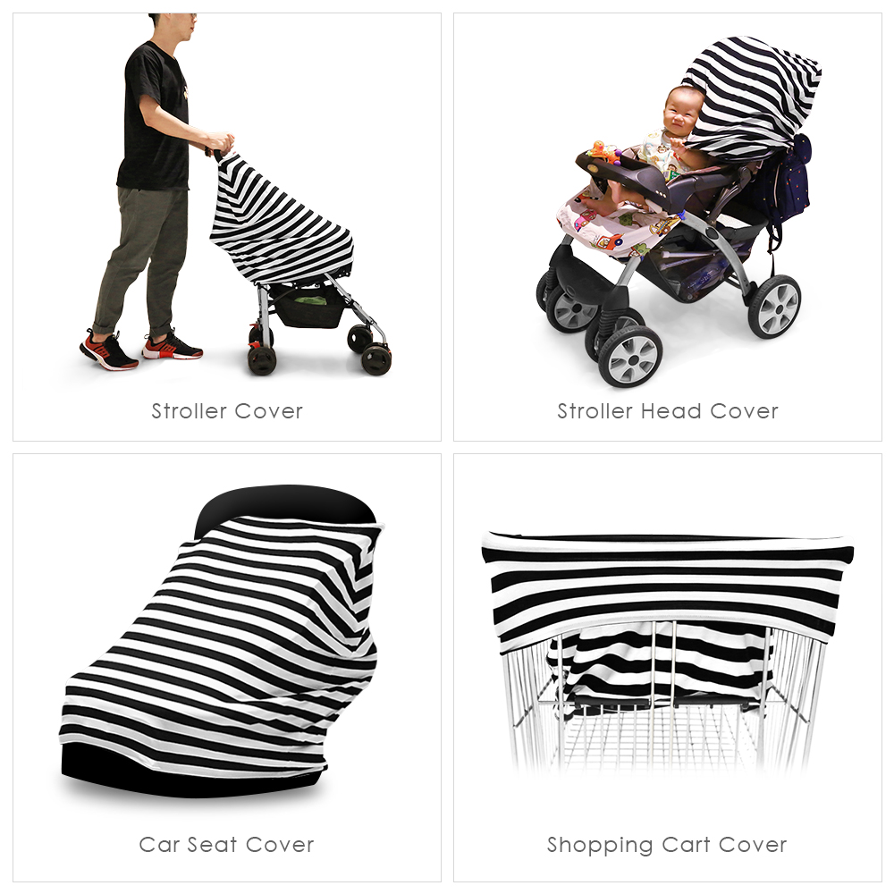 Baby Car Seat Cover Canopy Nursing Multi Use Stretchy Scarf