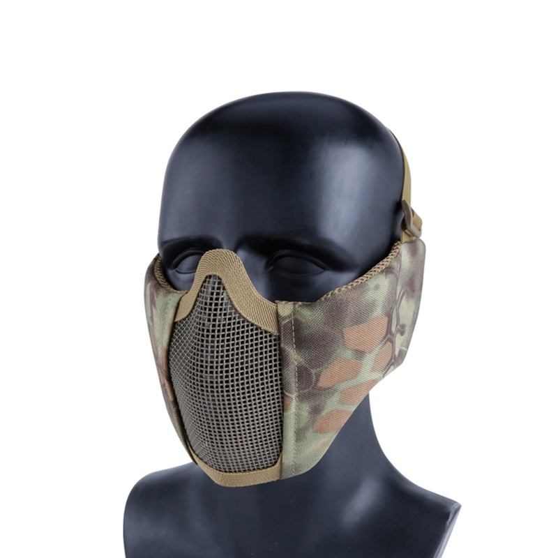 Camouflage Tactical Half Face Mask Hunting Protective Guard Mask Airsoft Ear Protection Metal Steel Net Mesh Mask