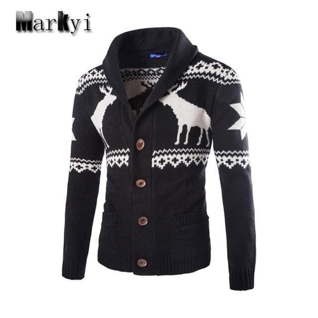 MarKyi 2016 marca nova camisola do natal dos homens de boa qualidade homens casaco jaqueta de inverno dos homens blusas com veados tamanho 2xl
