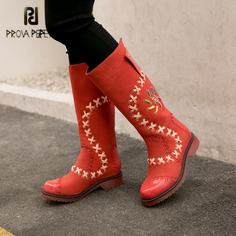 Prova Perfetto Fashion Red Women High Boots Handmade Martin Boots Ladies Flat Snow Botas Mujer Platform Rubber Shoes Woman prova perfetto punk style women martin boots platform flat botas mujer straps buckles rubber shoes woman knee high boots