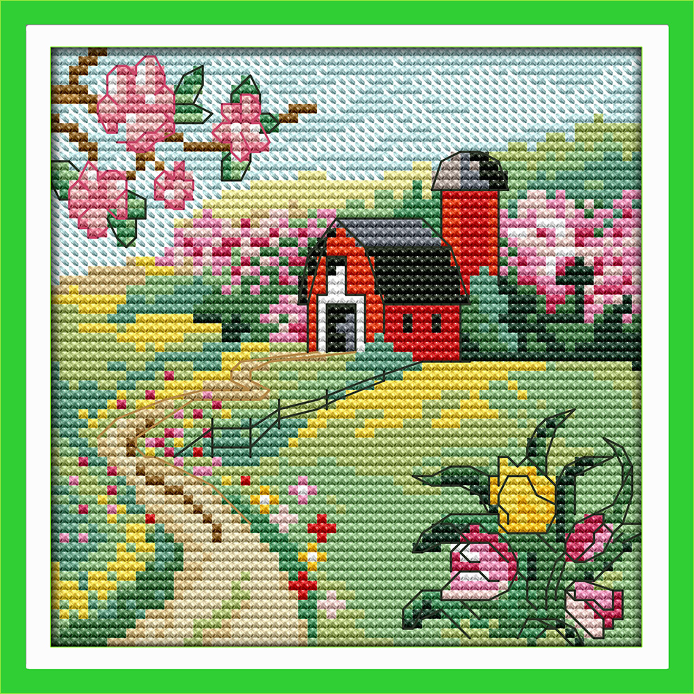 The suburban four seasons counted printed on fabric DMC 14CT 11CT Cross Stitch kits embroidery needlework
