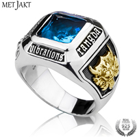 MetJakt 925 Sterling Silver Blue Topaz Ring & Hand Carved Golden Dragon Ring for Unisex Punk Jewelry