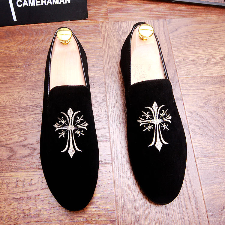 italian design brand men black wedding nightclub cow suede leather shoes embroidery pointed toe oxford shoe slip on loafers male 37 46 animal prints leopard genuine leather business shoes fashion brand design elevator wedding shoe for men nightclub wear