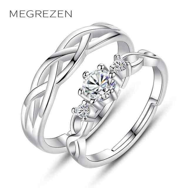 879d01fc5848 Anillos De boda con piedras para dos joyería De plata ajustable parejas De  Compromiso onda Zirconia anillo Anillos De Compromiso E174-5